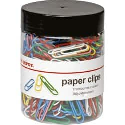 Office Depot Multi-Coloured Paper Clips 33 mm (500/tub)