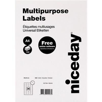 Niceday Laser Labels Self Adhesive 49 x 30 mm White 100 Sheets of 36 Labels
