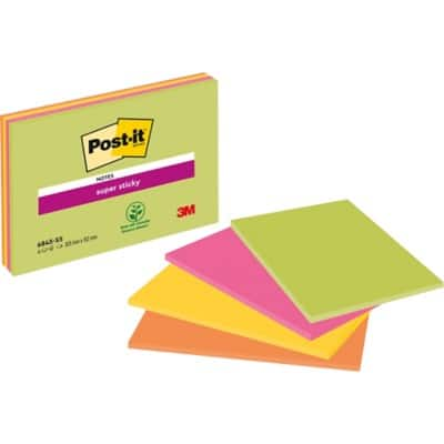 Post-it Super Sticky Notes 152 x 203 mm Assorted 4 Pieces of 45 Sheets