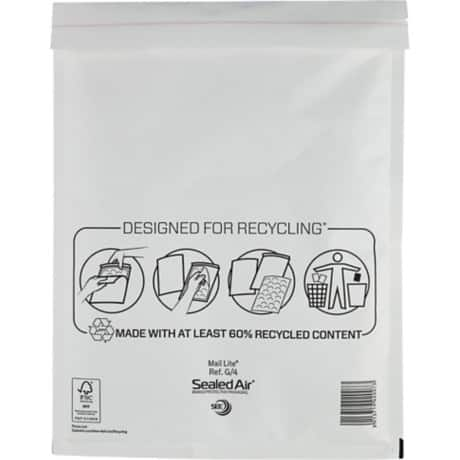 Mail Lite Mailing Bags g/4 92gsm White plain peel and seal 50 pieces