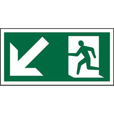 Fire Exit Sign with Down Left Arrow Vinyl 15 x 30 cm