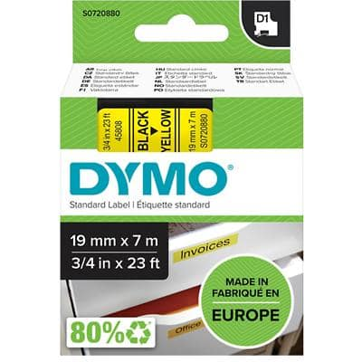 DYMO D1 45808 Label Tape, Authentic, Self Adhesive, Black Print on Yellow 19 mm x 7 m