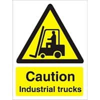 Warning Sign Caution Industrial Trucks Self Adhesive PVC 15 x 20 cm