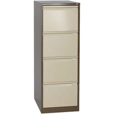 Bisley Filing Cabinet with 4 Lockable Drawers 1643 470 x 620 x 1310mm Brown & Cream