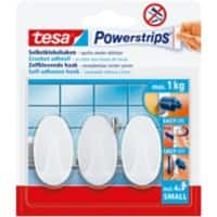 tesa Powerstrips Self Adhesive Hooks 0.06 m White Pack of 3