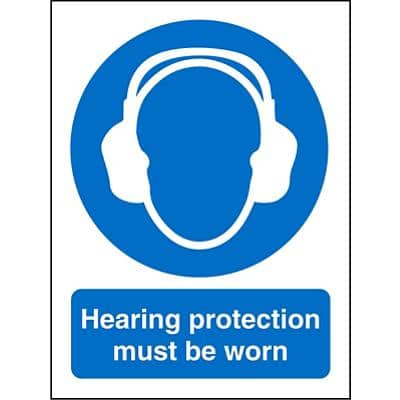 Mandatory Sign Hearing Protection PVC 15 x 20 cm