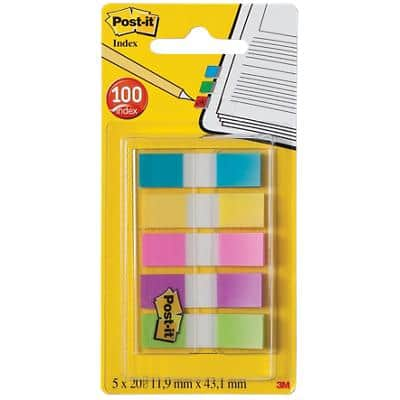 Post-it® Index Small Flags - 5 Colours in a clear dispenser (13mm) 100 flags