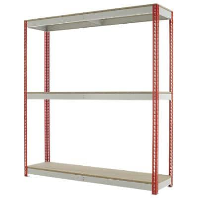 Kwik Rak Shelving Unit with 3 Shelves SX023RDGU 1800 x 450 x 1980mm Red & Light Grey