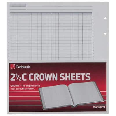 Twinlock Ledger Sheets Twinlock Crown Sheets Double Cash Ledger 2.5C (100) 22.9 x 25.6 x 25.1 cm White 100 Sheets