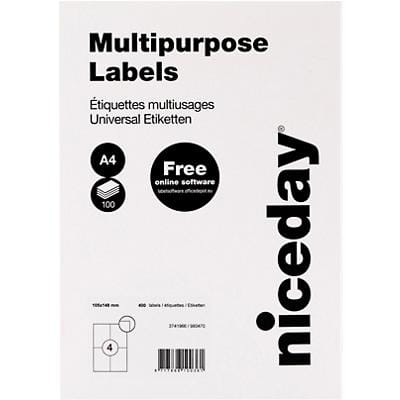 Niceday Multipurpose Labels Self Adhesive 105 x 148 mm White 100 Sheets of 4 Labels