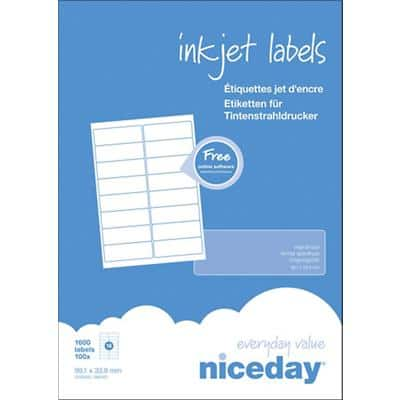 Niceday Inkjet Labels 99.1 x 38.1 mm Adhesive White 100 Sheets Pack of 1600 Labels