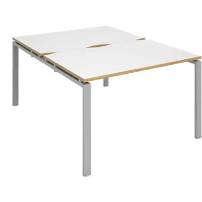 Dams International Rectangular Back to Back Desk with White Melamine Top and Silver Frame 4 Legs Adapt II 1200 x 1600 x 725mm