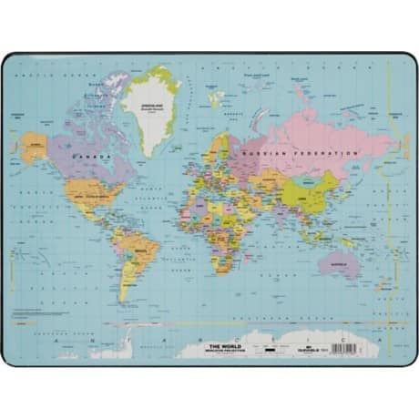 Durable world map desk mat 400 x 530 mm viking direct uk durable world map desk mat 400 x 530 mm gumiabroncs Choice Image
