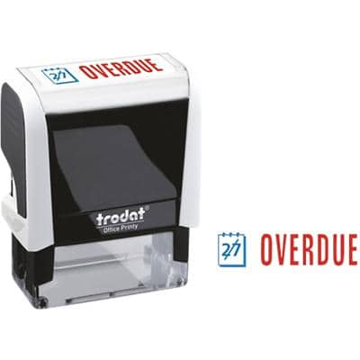 Trodat Printy 4912 Self Inking Overdue Stamp Blue, Red