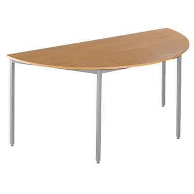 Dams International Semi-Circular Table with Beech Coloured MFC & Steel Top and Silver Frame Flexi 1600 x 800 x 720mm