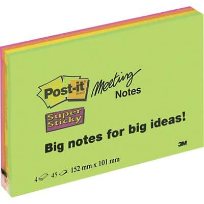 Post-it Super Sticky Large Meeting Notes 152 x 101 mm Neon Assorted Colours 4 Pads of 45 Sheets