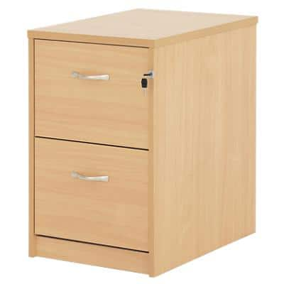 Dams Filing Cabinet with 2 Lockable Drawers Deluxe 480 x 650 x 730mm Beech