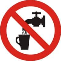 Prohibition Sign Not Drinkable PVC 6 x 6 cm