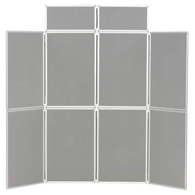 Freestanding Display Stand with 8 Panels Nyloop Fabric Foldaway 619 x 316 mm Grey