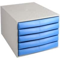 Exacompta Filing Drawers Set of 5 Blue, Grey 218 x 284 x 387 mm