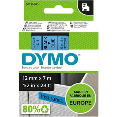 DYMO D1 Labelling Tape 45016 Black on Blue 12 mm x 7 m