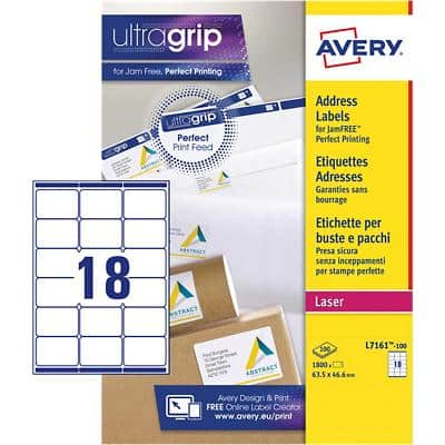 Avery L7161-100 Address Labels A4 White 63.5 x 46.6 mm 100 Sheets of 18 Labels