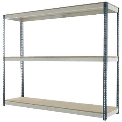 Kwik Rak Shelving Unit with 3 Shelves SX029XGU 2400 x 450 x 1980 mm Dark Grey & Light Grey