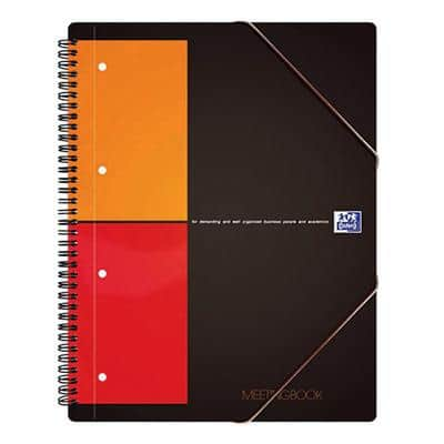 OXFORD International Meeting Book Grey A4+ Squared 4 Holes 160 Pages 80 Sheets