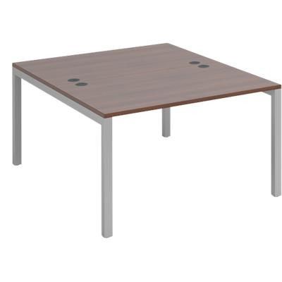 Dams International Rectangular Starter Unit Back to Back Desk with Walnut Melamine Top and Silver Frame 4 Legs Connex 1200 x 1600 x 725mm