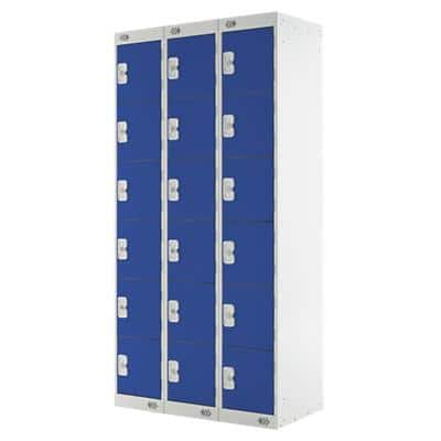 LINK51 Standard Mild Steel Locker with 6 Doors Standard Deadlock Lockable with Key 3 300 x 450 x 1800 mm Grey & Blue