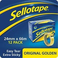 Sellotape Tape Original Golden Easy Tear Polypropylene 24mm x 66m Transparent 12 Rolls