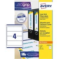Avery L7171-25 Filing Labels Self Adhesive 200 x 60 mm White 100 Labels 25 Sheets of 4 Labels