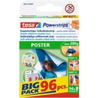 tesa Powerstrips Double Sided Strips Poster 0.045 m Transparent Pack of 6