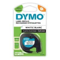 DYMO LetraTag 91201 Label Tape, Authentic, Self Adhesive, Black Print on White 12 mm x 4 m