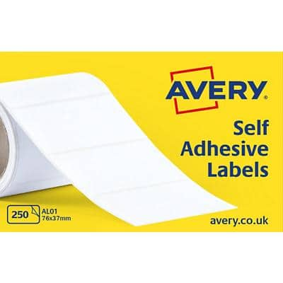 AVERY Typewriter Address Label Rolls AL01 White Self Adhesive 76 x 37 mm 1 Roll of 250 Labels