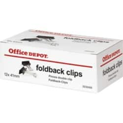 Office Depot Foldback Clips Black 41 mm 12 Per Box