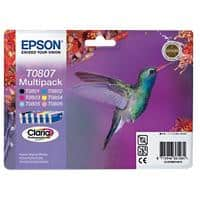 Epson T0807 Original Ink Cartridge C13T08074011 Black & 5 Colours 6 Pieces