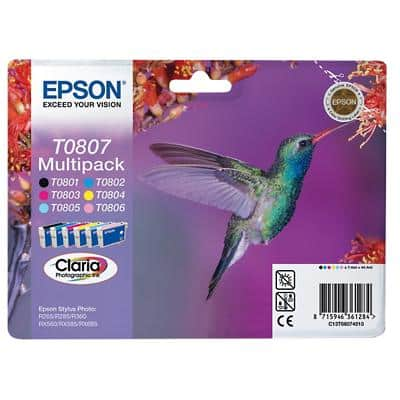 Epson T0807 Original Ink Cartridge C13T08074011 Black & 5 Colours Pack of 6