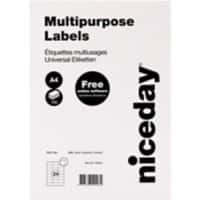 Niceday Multipurpose Labels Self Adhesive 70 x 37 mm White 100 Sheets of 24 Labels