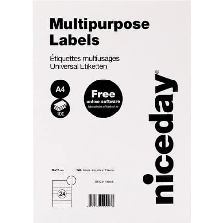 Niceday Multipurpose Labels White 37 x 70 mm 100 sheets of 24 labels