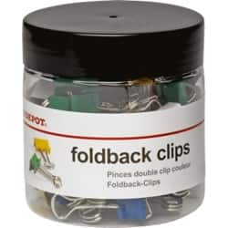 Office Depot Foldback Clips Assorted 19 mm 50 Per Box