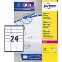 Avery L7159-100 Address Labels Self Adhesive 63.5 x 33.9 mm White 100 Sheets of 24 Labels