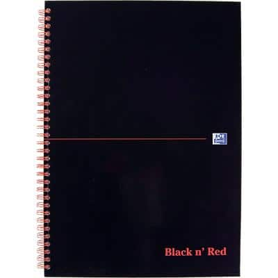 OXFORD Black n' Red Wirebound Hardback Notebook Ruled A4