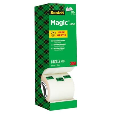 Scotch Magic Tape 19 mm x 33 m Transparent 8 Rolls
