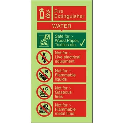 Fire Procedure Sign Water Extinguisher Photoluminescent PVC 100 x 200 mm