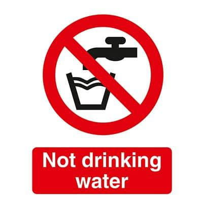 Prohibition Sign Not Drinking Water PVC 15 x 20 cm