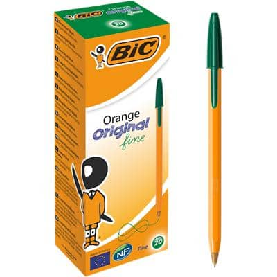 BIC Orange Original Fine Ballpoint Pen 0.3 mm Green Pack of 20