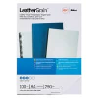 GBC Binding Covers A4 LeatherGrain 250 gsm White Pack of 100