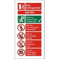 Fire Extinguisher Sign Water PVC 20 x 10 cm