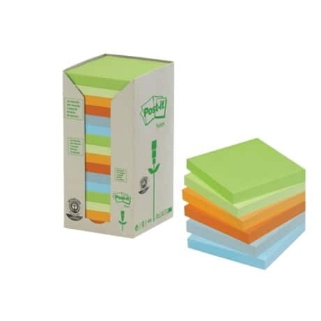 Post-it Recycled Notes 654-1RPT Assorted No 76 x 76 mm 70gsm 16 pieces of 100 sheets